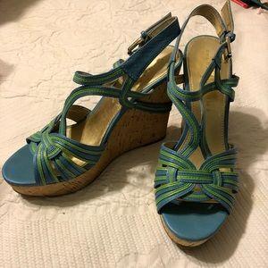 Like new, Ivanka Trump Blue & Green Wedges